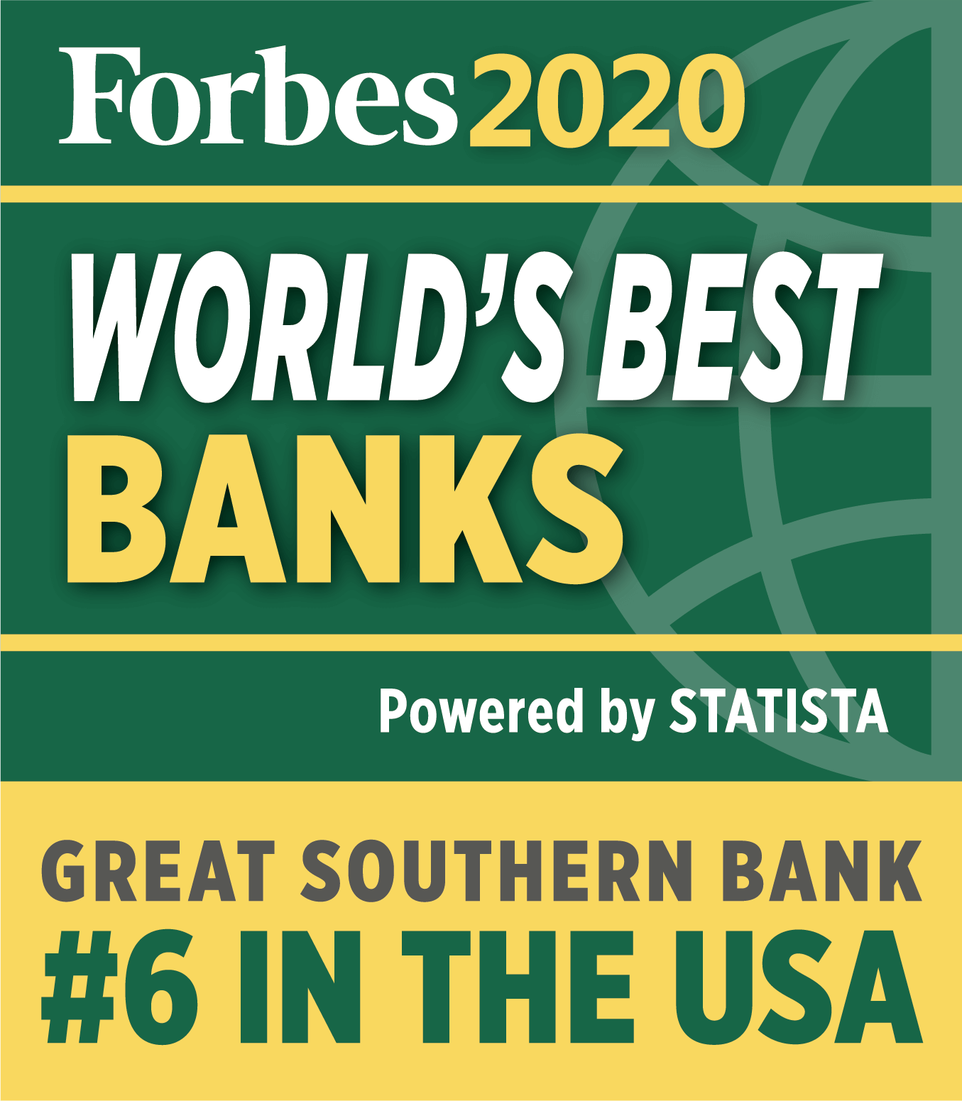 Forbes2020 World's Best Banks - #6 in the USA